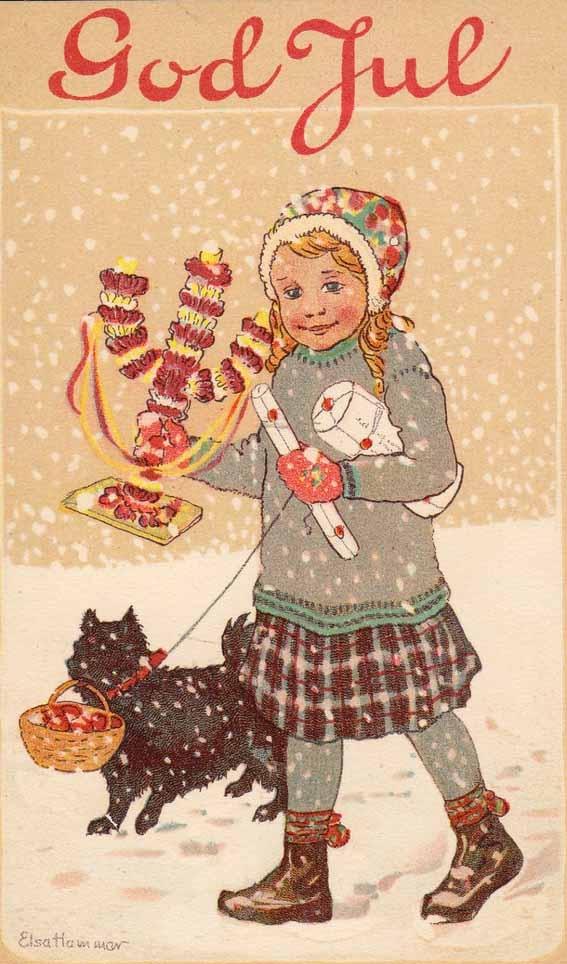 Scandinavian Christmas card God Jul