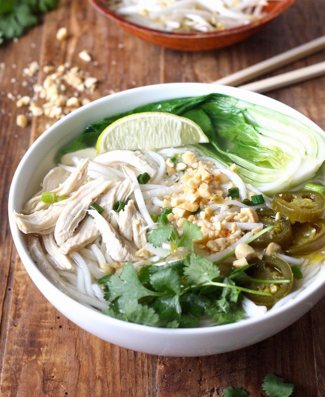Thai Rice Noodle Soup with Chicken recipe by SeasonWithSpice.com
