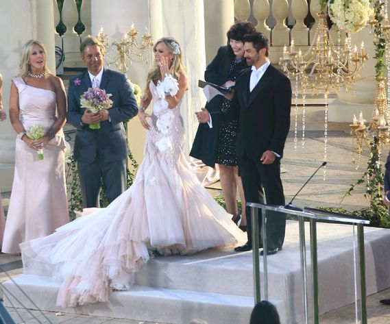 Tamra Barney's pink Mark Zunino wedding dress