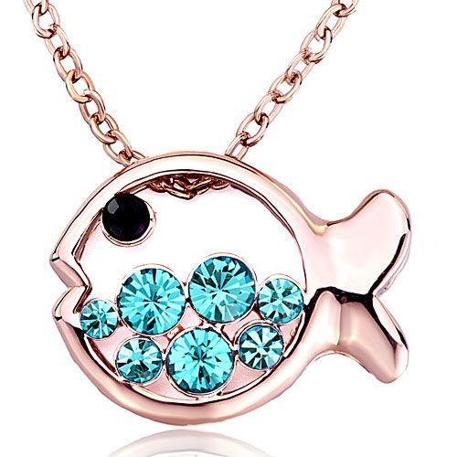 24 best birthstone jewelry images on pinterest charm bead necklace pendants rose gold fish blue march birthstone aquamarine swarovski crystal round pendant necklace mozeypictures Choice Image