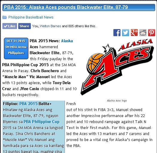 http://pilipinasbasketball.com/news/pba-2015-alaska-aces-pounds-blackwater-elite-87-79/  PBA 2015: Alaska Aces pounds Blackwater Elite, 87-79 #pilipinasbasketball #PBA2015 #AlaskaAces #GatasRepublik #Blackwater  PBA 2015 News: Alaska Aces hammered Blackwater Elite, 87-79, this Friday payday in the PBA Philippine Cup 2015 at the SM MOA Arena