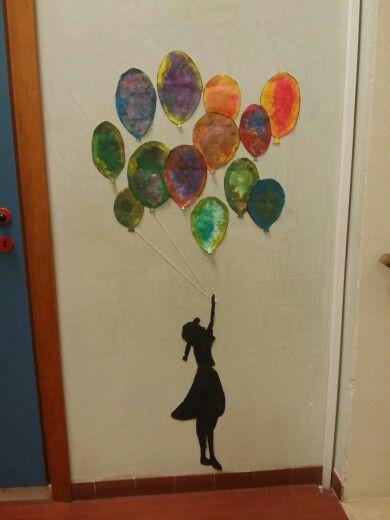 Bansky with sponge colored baloons #children #bansky #art #project #school #activities