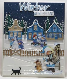 Hallo blogvriendjes en vriendinnetjes, Dit is echt Winterwonderland op deze kaart. Sneeuwpoppen maken in de tuinen voor die geze...