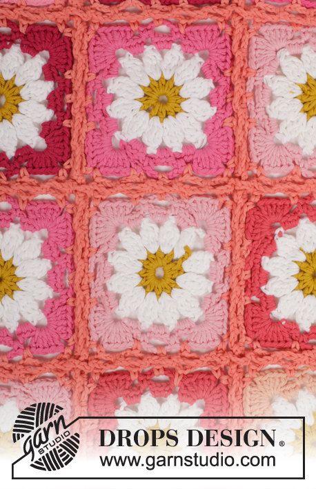 Uncinetto coperta in cotone motivo a fiori granny square