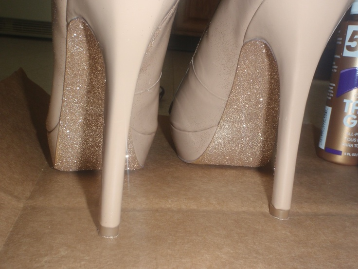 DIY glitter bottom shoes :)