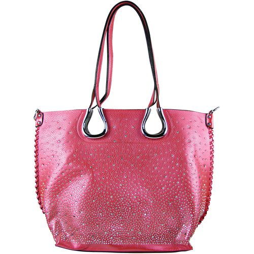 Shoes, tops or handbags, metallic is in these days. Shop this hot pink full metallic shoulder handbag for a trendy addition to your collection. http://bit.ly/2rTFjJl
