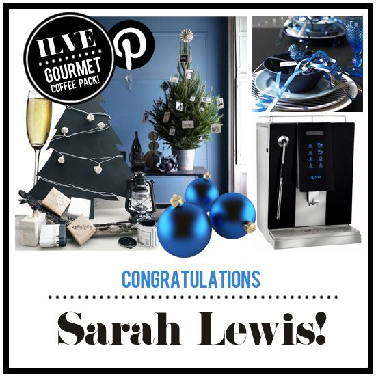 Congratulations Sarah Lewis, you are the winner of the 'Xmas with ILVE' Pinterest Competition!  You have won an ILVE Coffee Machine and a gourmet coffee pack from Avanti and Campos.  Please send a private message to our Facebook page – https://www.facebook.com/ILVEappliances - or email nat@ummcommunications.com.au with your postal details so that we can arrange the delivery of your prize.  Thank you again to everyone who entered. Merry Christmas from the ILVE Team!