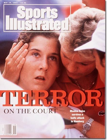 April 30, 1993 – Tennis star Monica Seles is stabbed in the back by an obsessed fan of rival Steffi Graf at a tournament in Hamburg, Germany.