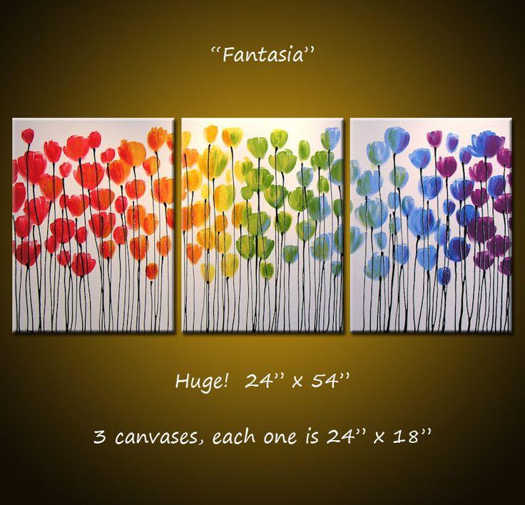 Große Wandkunst / ORIGINAL Rainbow Blumen Malerei / abstrakte