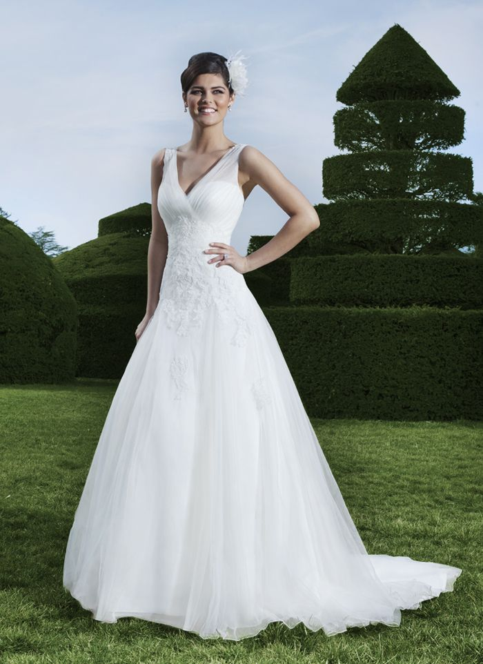 Rk Bridal Sincerity Spring Style 3732 This Has A Sheer V Neckline Accented By Lace Midriff And Tulle Line Skirt