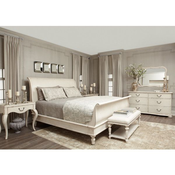 Reine French Country Antique White Queen Sleigh Bed ($2,137) ❤ liked on Polyvore featuring home, furniture, beds, queen sleigh headboard, french country bed, queen bedroom suite, queen bed and painted french country furniture
