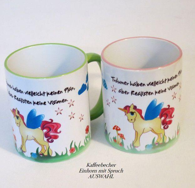 Kaffeebecher Einhorn mit  Spruch  - AUSWAHL  von ღKreawusel-Designღ auf DaWanda.com