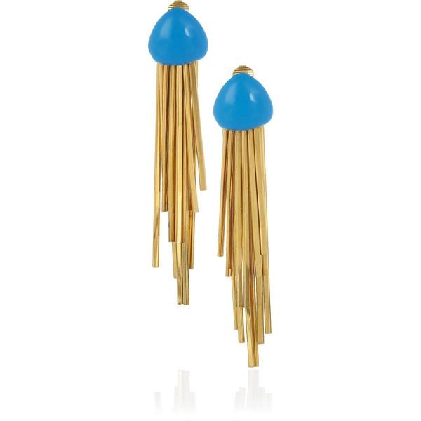 Aurélie Bidermann Mendoza 18-karat gold-plated enameled clip earrings ❤ liked on Polyvore