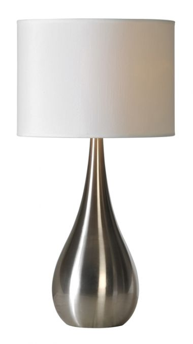 This contemporary table lamp has a white linen drum shade with 1 2in