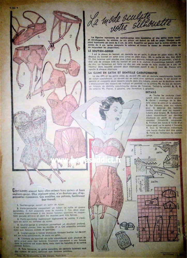 """""""Mon Ouvrage 1950"""" 33 patrons gratuits COUTURE, TRICOT, CROCHET"""