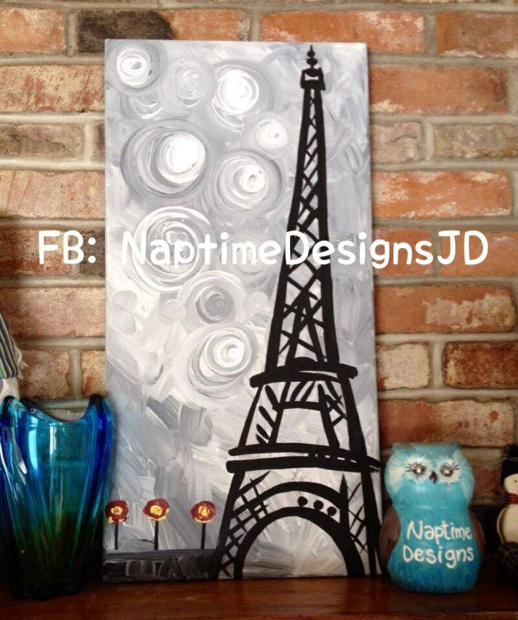 Eiffel Tower - painting on canvas. FB: NaptimeDesignsJD #ECMC