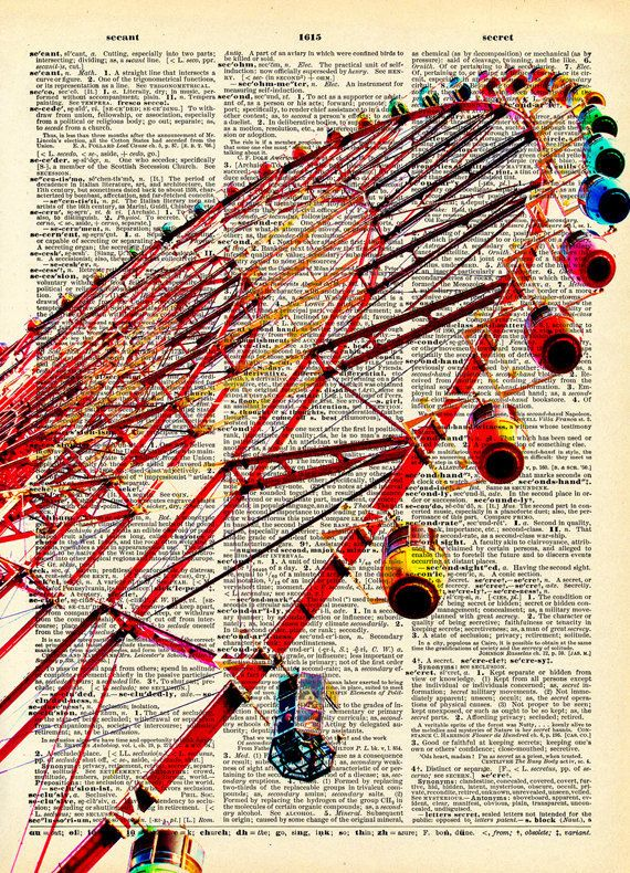 "Vintage Book Art Print ""Ferris Wheel"" Upcycled Recycled Antique Book Print - Vintage Carnival Circus. $10.00, via Etsy."