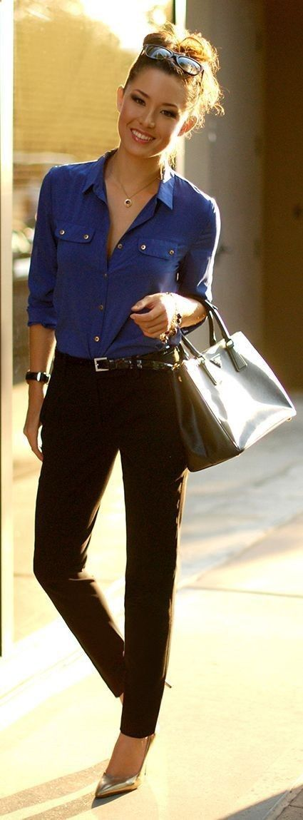 Fall / Winter - Spring / Summer - street chic style - office wear - business casual - work outfit - black pants   black and gold belt   metallic stilettos   cobalt blue shirt   black handbag   black sunglasses #fall