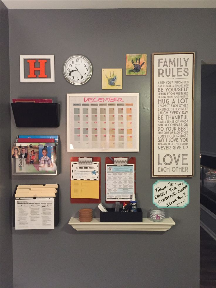 Kitchen family command center--love the clipboards for school menus and activity schedules