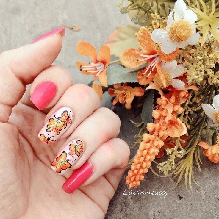 Orange butterfly Nail art!!! Questa settimana ho realizzato una Nail art con farfalle arancio  Facili e veloci da realizzare... video #tutorial nel mio canale #youtube la truccatrice di unghie link in Bio             #nails #nailswag #nailpolish #nailpromote #unghie #polishgirl #orange #butterfly #farfalle #butterflynails #beautyblogger #instanails #instabeauty #instapolish #fashion #likes by lavinialussy