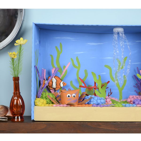 Upcycled Coral Reef Diorama - how to make a diorama - easy fun educational kids crafts