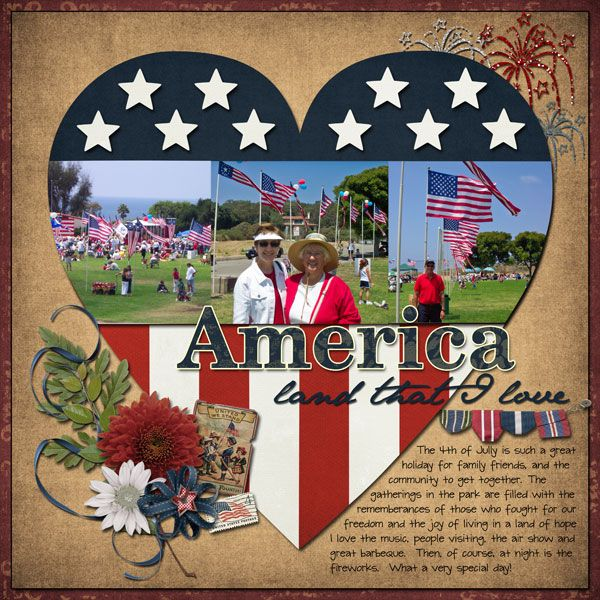 "Sweet Patriotic ""America, Land That I Love"" Scrapbooking Layout...Joy2scrapbook - Scrapbook.com."