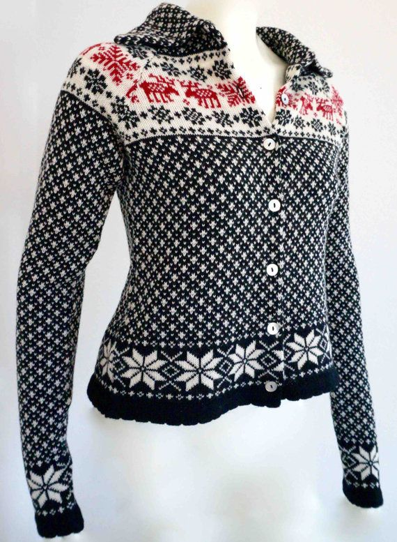 Cardigan/jacket in nordic knit with reindeer stars by NordicKnit