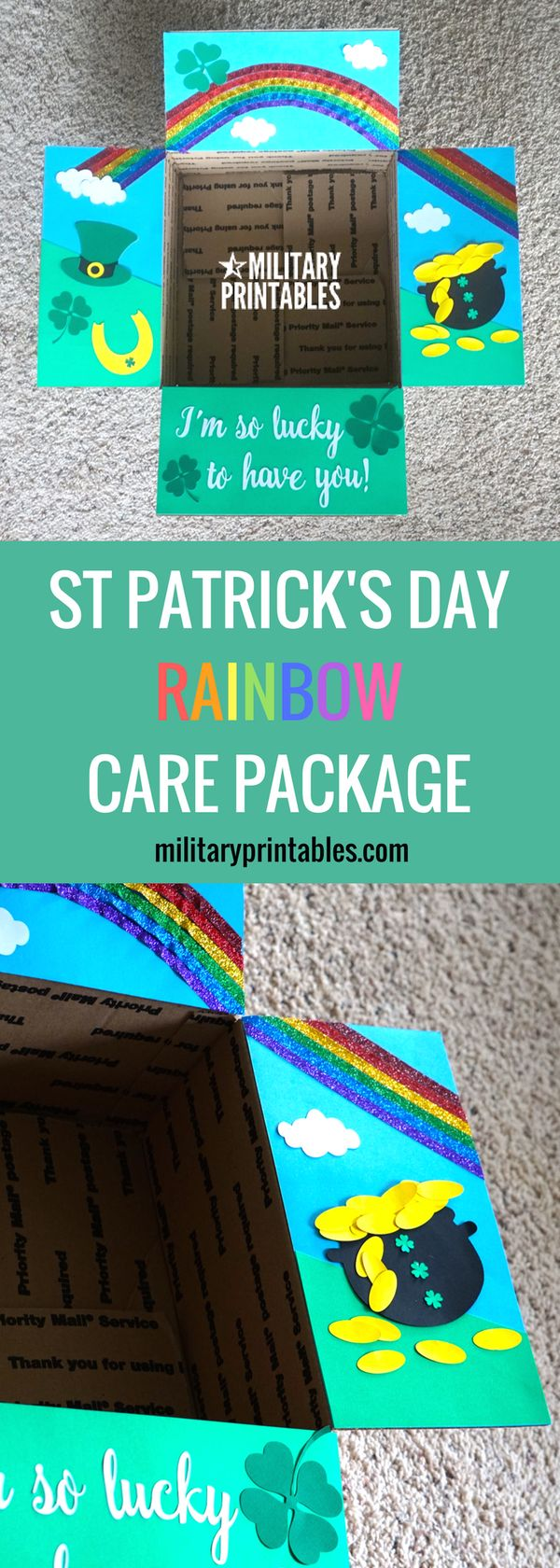 Care package idea for st patrick's day. lucky to have you, green, rainbow, pot of gold
