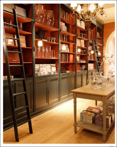 Flamant rail/ladder inspiration for around bookcases and access to mezzanine/loft space
