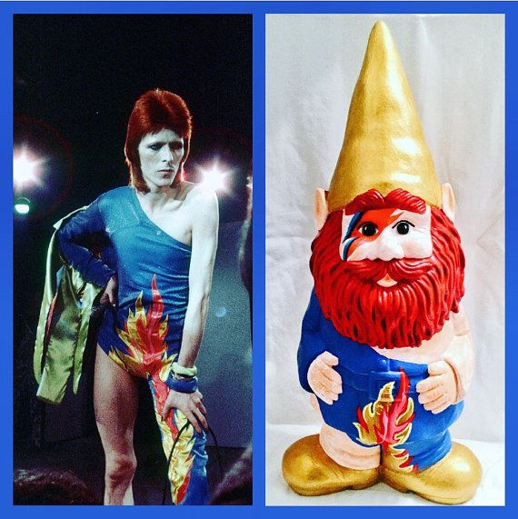 Garden Gnomes On Sale: 15in David Bowie Gnome By Ianthegnome On Etsy