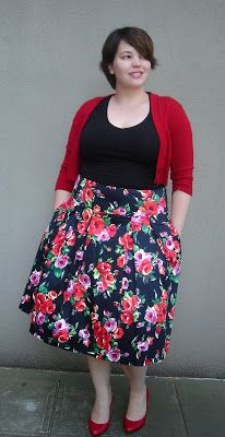 plus size floral skirt and red cardigan | Frocks and Frou Frou - Lilli