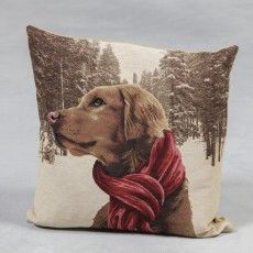 """French Pointer with Scarf 18"""" Tapestry Cushion"""