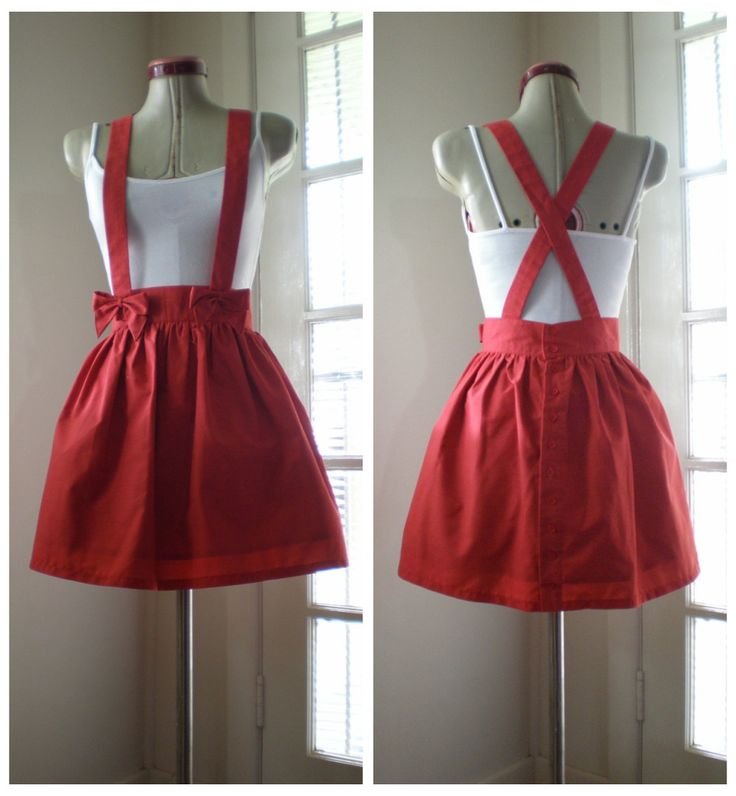 Little red suspender skirt xs/s,. Red cotton. Buttons down back. Bow suspenders with press stud closure. As soon as I posted a...