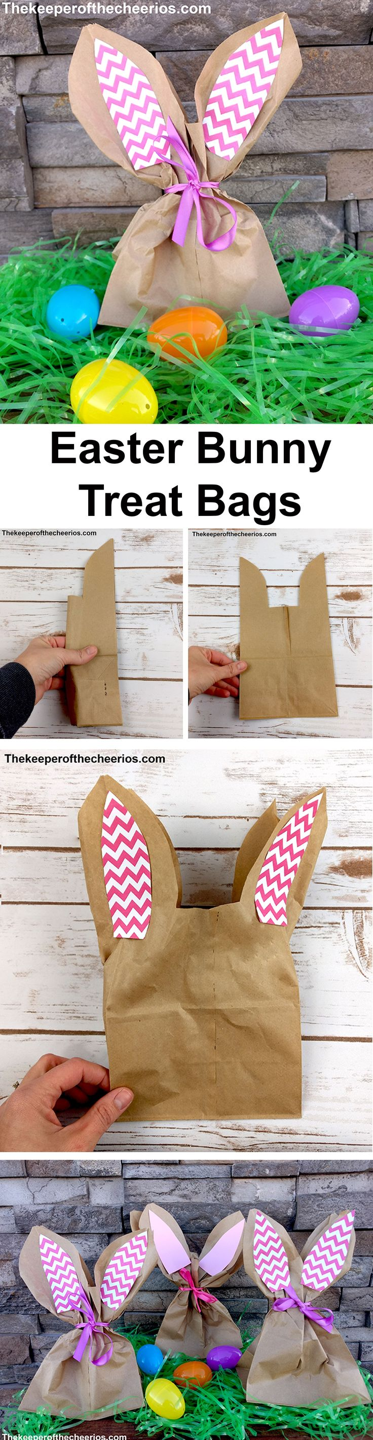 Easter Bunny Treat Bags Materials: Paper lunch bags Pink card stock (pain or designed) or construction paper Glue stick Ribbon Scissors Directions: Fold lunch bag in half (hot dog style) Trim the top half of the bag from the outside point down towards the center (about a 1/4 of the way down) then cut straight across Open bag up Take both outer ear pieces and open them up flattening out the ears Cut out 2 inside ear pieces from your pink paper Glue onto the paper bag ears Fill bag with tr...