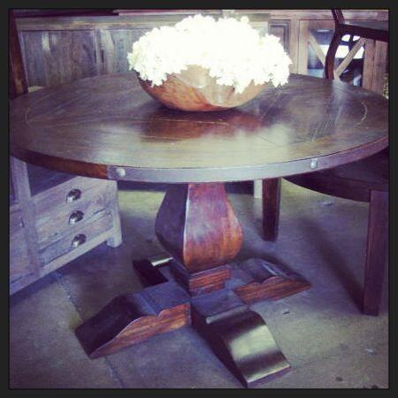 Acacia Pedestal Table With Metal Detail. #nadeau #furniture #miami  #pedestaltable #