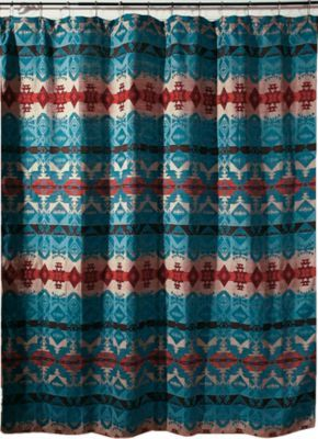 "Woven Turquoise Chamarro curtain is made of 100% polyester for strength and water resistance. Designed with richly Native American colors and patterns. Buttonhole top for easy setup. Dimensions: 72"" x 72""."