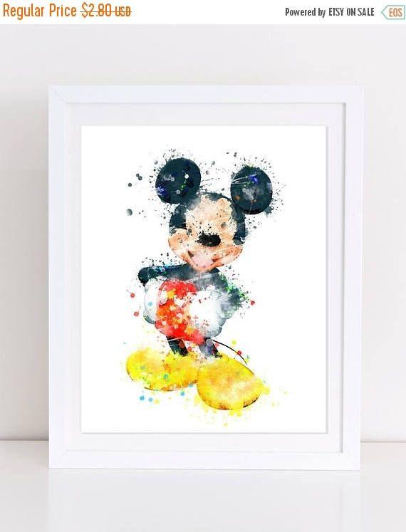 70%OFF Mickey mouse disney watercolor print watercolor nursery