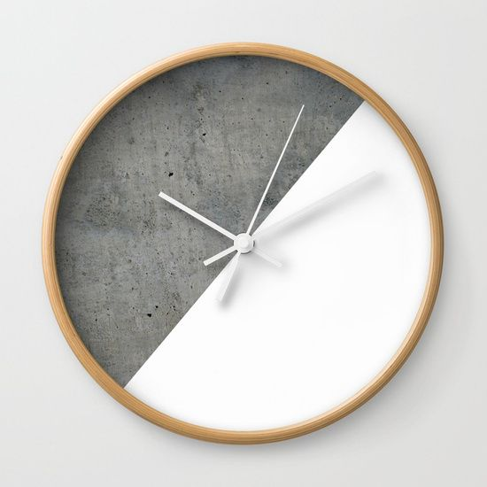 Concrete Vs White Wall Clock by ARTbyJWP from Society6 # ...