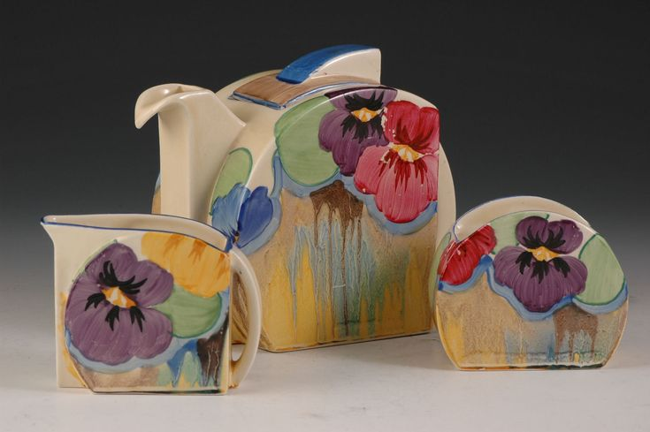 Andrew Muir   Clarice Cliff, Art Deco Pottery, Moorcroft and 20th Century Ceramics Dealer - Pansies stamford teaset