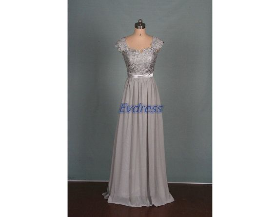 Floor length grey chiffon lace bridesmaid gowns hot,elegant women dress for wedding party party,affordable prom dresses under 150.
