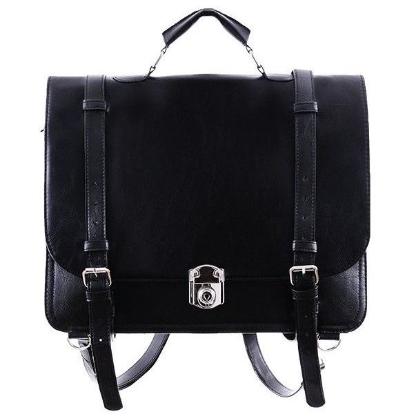 CLASSIC MESSENGER Backpack Bag by Restyle ($57) ❤ liked on Polyvore featuring bags, messenger bags, leather rucksack, goth messenger bag, gothic backpack, locking courier bag and leather messenger bag backpack