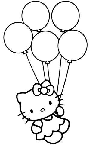 Hello Kitty with Balloons Coloring page