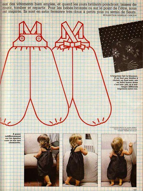 DIY vintage, couture, tricot, loisirs créatifs, années 70: Bloomer bébé ( filles et garçon)