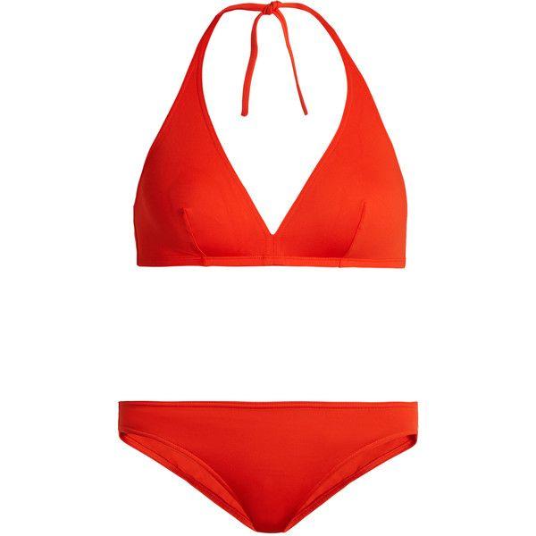 Eres Gang and Scarlett bikini set (1.005 BRL) ❤ liked on Polyvore featuring swimwear, bikinis, orange bikini top, strappy halter bikini top, halter tops, halter bikini and strappy bikini top