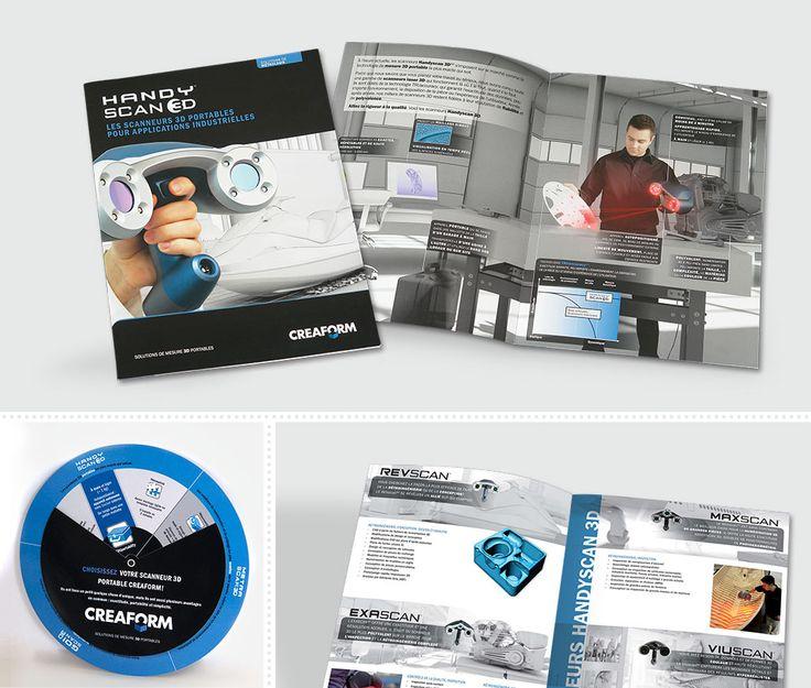Creaform  En 2010, MSCom repense l'image de marque de la célèbre gamme de produits HandySCAN 3D de Creaform :      MSCom conceptualise et réalise une brochure de gamme regroupant dorénavant quatre différents scanners portables. Celle-ci sera ensuite déclinée en 8 langues.