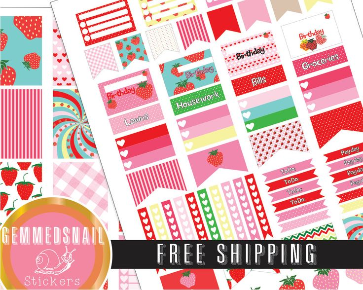 Strawberry planner stickers, FREE SHIPPING. includes full box planner stickers fits Erin Condren planners