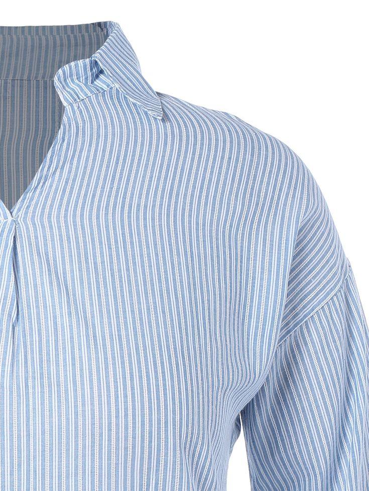 Plus Size Stripe High Low Blouse 9