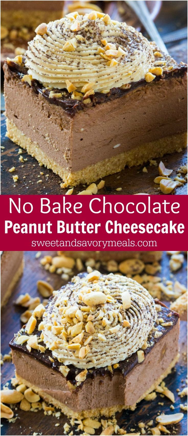 Chocolate Peanut Butter Cheesecake with no cracks or cooking time, because this delicious cheesecake is no bake with a perfect creamy texture.