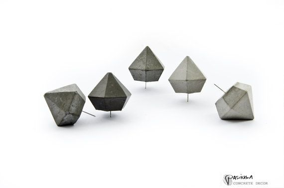 Toughen up your inspiration board with faceted concrete push pins. #etsy #etsyfinds