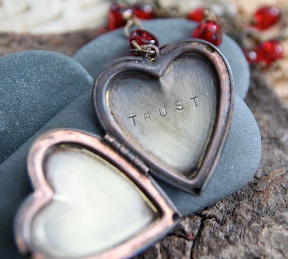 let yourself choose trust in this moment :: a hand stamped soul mantra locket
